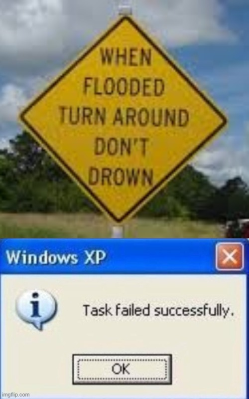 what? | image tagged in task failed successfully,memes,funny,stupid signs,flood,drowning | made w/ Imgflip meme maker