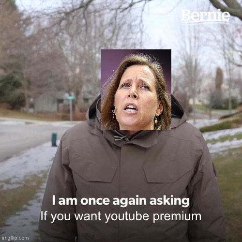 Do YoU wAnT pReMiUm? |  If you want youtube premium | image tagged in memes,bernie i am once again asking for your support | made w/ Imgflip meme maker