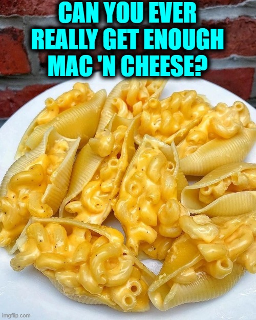 Kraft® or Velveeta® Macaroni 'n Cheese? |  CAN YOU EVER REALLY GET ENOUGH MAC 'N CHEESE? | image tagged in vince vance,macaroni,cheese,kraft,shells,memes | made w/ Imgflip meme maker