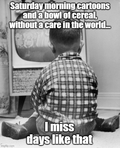 Saturday morning cartoons and a bowl of cereal, without a care in the world... I miss days like that | image tagged in childhood | made w/ Imgflip meme maker
