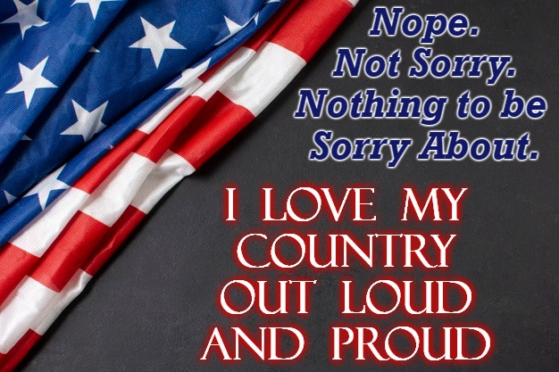 Out Loud Patriots! |  Nope. Not Sorry. Nothing to be  Sorry About. I  LOVE  MY COUNTRY OUT  LOUD AND  PROUD | image tagged in patriotic | made w/ Imgflip meme maker