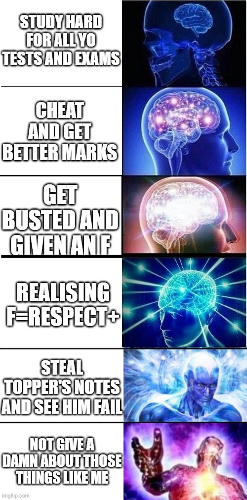 STUDY HARD FOR ALL YO TESTS AND EXAMS; CHEAT AND GET BETTER MARKS; GET BUSTED AND GIVEN AN F; REALISING F=RESPECT+; STEAL TOPPER'S NOTES AND SEE HIM FAIL; NOT GIVE A DAMN ABOUT THOSE THINGS LIKE ME | image tagged in memes,expanding brain,7-tier expanding brain,memes | made w/ Imgflip meme maker