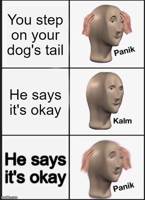 Panik Kalm Panik Meme |  You step on your dog's tail; He says it's okay; He says it's okay | image tagged in memes,panik kalm panik | made w/ Imgflip meme maker