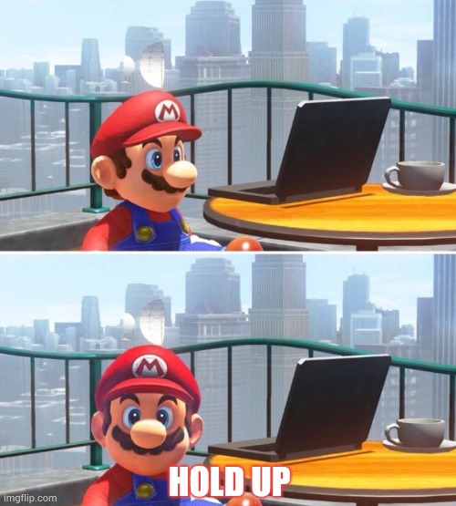 HOLD UP | image tagged in mario looks at computer | made w/ Imgflip meme maker