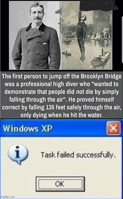 He wasn't wrong | image tagged in task failed successfully,meems,funny,bridge,water | made w/ Imgflip meme maker