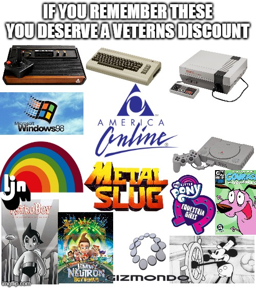 veterens disgunt |  IF YOU REMEMBER THESE YOU DESERVE A VETERNS DISCOUNT | image tagged in blank white template,nostalgia,ljn,atari,90s,80s | made w/ Imgflip meme maker