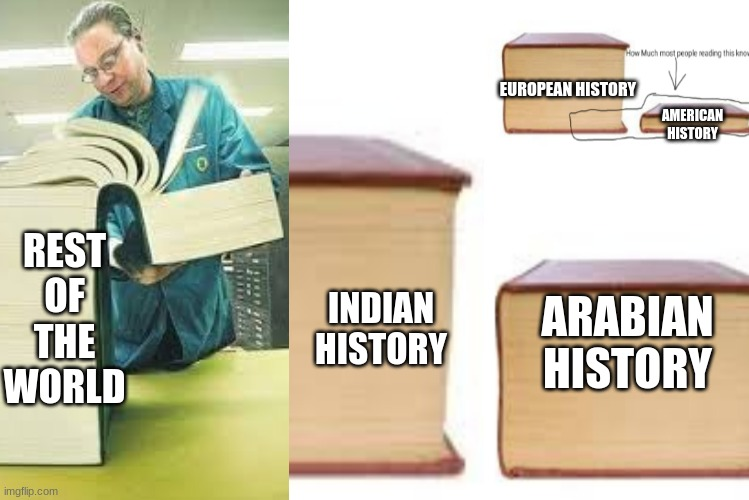 This is how much you know learn about about history in school |  AMERICAN HISTORY; EUROPEAN HISTORY; REST OF THE WORLD; ARABIAN HISTORY; INDIAN HISTORY | image tagged in big book vs little book,big book,history | made w/ Imgflip meme maker