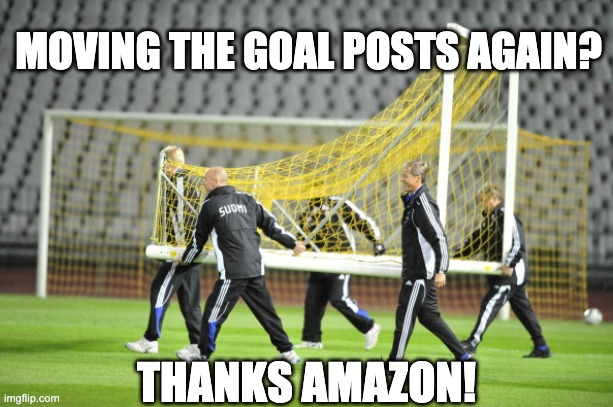 4 men moving goal posts with Amazon meme text