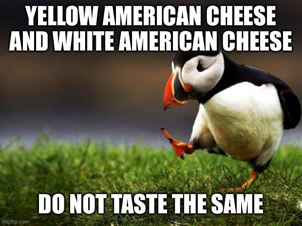 Unpopular Opinion Puffin |  YELLOW AMERICAN CHEESE AND WHITE AMERICAN CHEESE; DO NOT TASTE THE SAME | image tagged in memes,unpopular opinion puffin | made w/ Imgflip meme maker