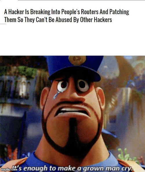 The hacker is an online security guard | image tagged in it's enough to make a grown man cry,memes,screenshot,news,hackers,routers | made w/ Imgflip meme maker