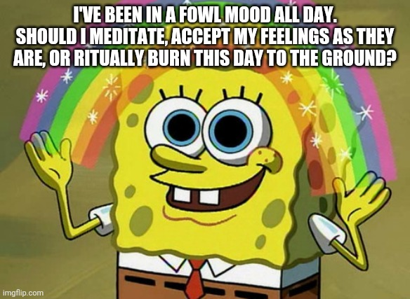 Imagination Spongebob |  I'VE BEEN IN A FOWL MOOD ALL DAY. SHOULD I MEDITATE, ACCEPT MY FEELINGS AS THEY ARE, OR RITUALLY BURN THIS DAY TO THE GROUND? | image tagged in memes,imagination spongebob | made w/ Imgflip meme maker