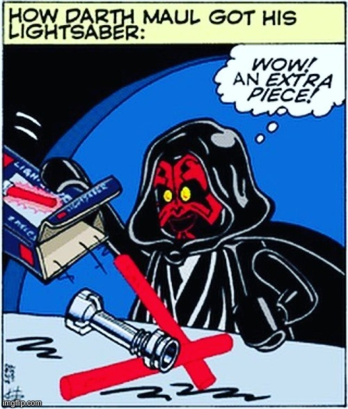 image tagged in lego,star wars,darth maul,lightsaber | made w/ Imgflip meme maker