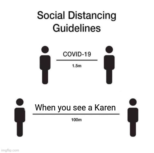 When you see a Karen |  When you see a Karen | image tagged in social distancing guidelines,karen,funny,memes,meme,omg karen | made w/ Imgflip meme maker