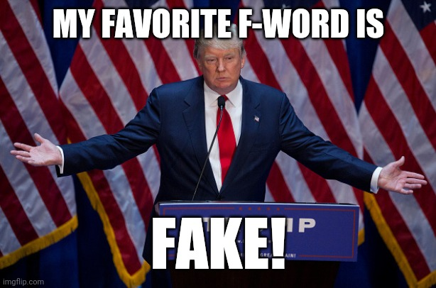 Donald Trump |  MY FAVORITE F-WORD IS; FAKE! | image tagged in donald trump | made w/ Imgflip meme maker