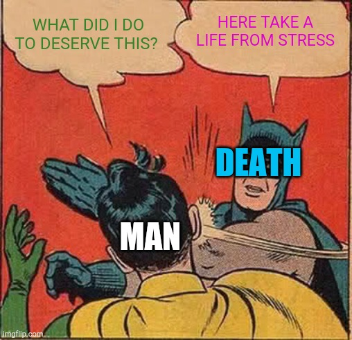 WHAT DID I DO TO DESERVE THIS? HERE TAKE A LIFE FROM STRESS MAN DEATH | image tagged in memes,batman slapping robin | made w/ Imgflip meme maker