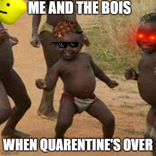 When Quarentine is over... |  ME AND THE BOIS; WHEN QUARENTINE'S OVER | image tagged in memes,third world success kid | made w/ Imgflip meme maker