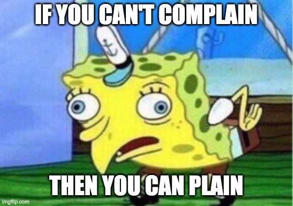 Mocking Spongebob |  IF YOU CAN'T COMPLAIN; THEN YOU CAN PLAIN | image tagged in memes,mocking spongebob | made w/ Imgflip meme maker