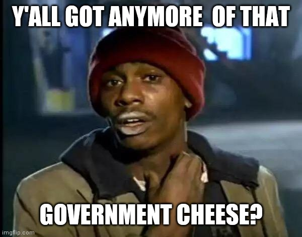 Y'all Got Any More Of That Meme | Y'ALL GOT ANYMORE  OF THAT GOVERNMENT CHEESE? | image tagged in memes,y'all got any more of that | made w/ Imgflip meme maker