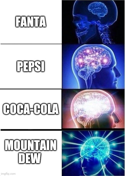 Mtn Dew > Other Beverages |  FANTA; PEPSI; COCA-COLA; MOUNTAIN DEW | image tagged in memes,expanding brain,mtn dew,mountain dew,coca cola,pepsi | made w/ Imgflip meme maker