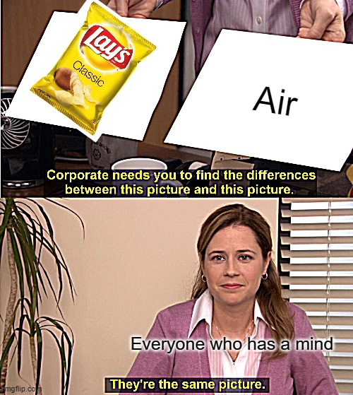 Oof Lays |  Air; Everyone who has a mind | image tagged in memes,they're the same picture | made w/ Imgflip meme maker