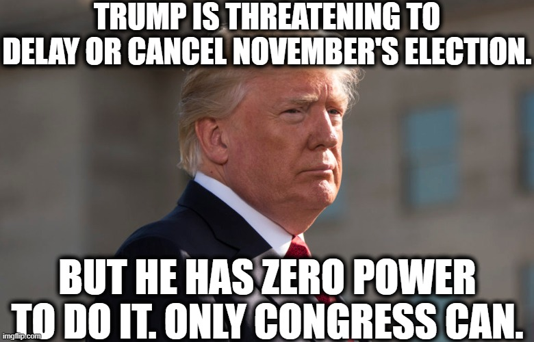 Another toothless, empty threat. |  TRUMP IS THREATENING TO DELAY OR CANCEL NOVEMBER'S ELECTION. BUT HE HAS ZERO POWER TO DO IT. ONLY CONGRESS CAN. | image tagged in donald trump,threat,election,traitor,congress,covid-19 | made w/ Imgflip meme maker