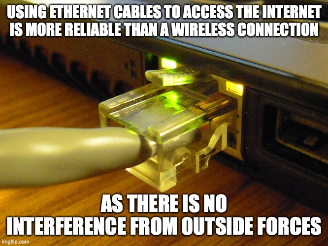 Ethernet Cable |  USING ETHERNET CABLES TO ACCESS THE INTERNET IS MORE RELIABLE THAN A WIRELESS CONNECTION; AS THERE IS NO INTERFERENCE FROM OUTSIDE FORCES | image tagged in internet,memes,computer | made w/ Imgflip meme maker