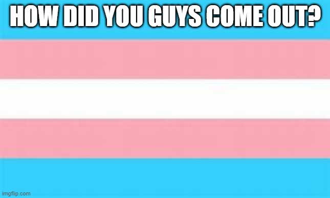 trans |  HOW DID YOU GUYS COME OUT? | image tagged in trans | made w/ Imgflip meme maker