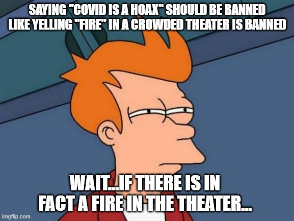 "Futurama Fry Meme |  SAYING ""COVID IS A HOAX"" SHOULD BE BANNED LIKE YELLING ""FIRE"" IN A CROWDED THEATER IS BANNED; WAIT...IF THERE IS IN FACT A FIRE IN THE THEATER... 