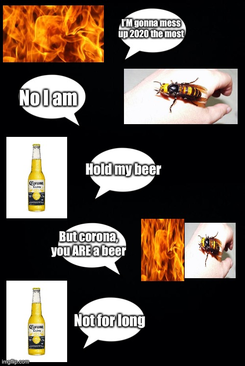 I'M gonna mess up 2020 the most; No I am; Hold my beer; But corona, you ARE a beer; Not for long | image tagged in black background,murder hornet,corona,coronavirus,2020,hold my beer | made w/ Imgflip meme maker