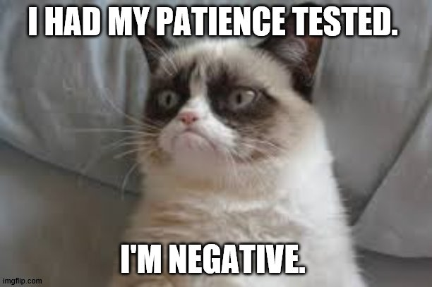 Patience |  I HAD MY PATIENCE TESTED. I'M NEGATIVE. | image tagged in grumpy cat | made w/ Imgflip meme maker