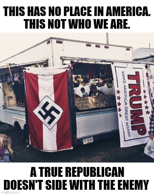 214361 Americans died in their fight against Nazi-Germany. Don't dishonour their sacrifice. |  THIS HAS NO PLACE IN AMERICA.  THIS NOT WHO WE ARE. A TRUE REPUBLICAN DOESN'T SIDE WITH THE ENEMY | image tagged in memes,donald trump,neo-nazis | made w/ Imgflip meme maker
