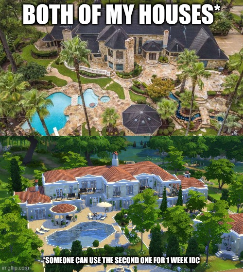 GIANT MANSION FOR RENT: 10 UPVOTES |  BOTH OF MY HOUSES*; *SOMEONE CAN USE THE SECOND ONE FOR 1 WEEK IDC | image tagged in asdfperson135,rent | made w/ Imgflip meme maker