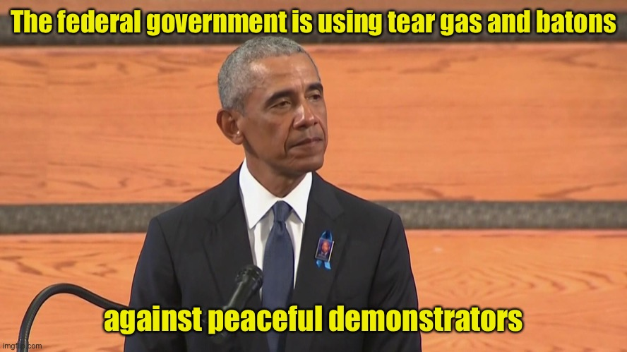 I almost forgot how much this guy lies. |  The federal government is using tear gas and batons; against peaceful demonstrators | image tagged in obama,dishonest | made w/ Imgflip meme maker