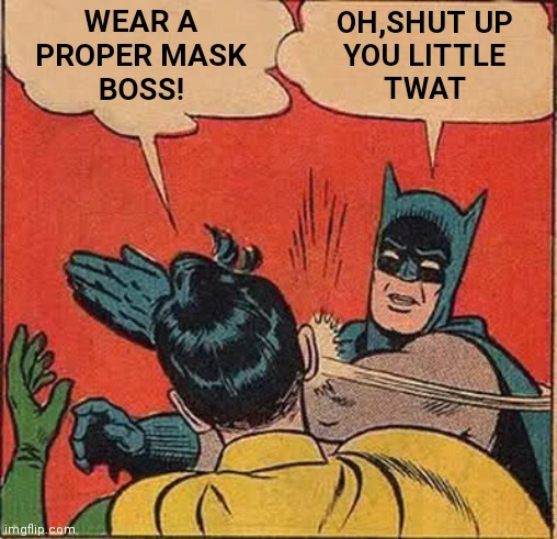 Batman Slapping Robin Meme |  WEAR A PROPER MASK BOSS! OH,SHUT UP YOU LITTLE TWAT | image tagged in memes,batman slapping robin | made w/ Imgflip meme maker