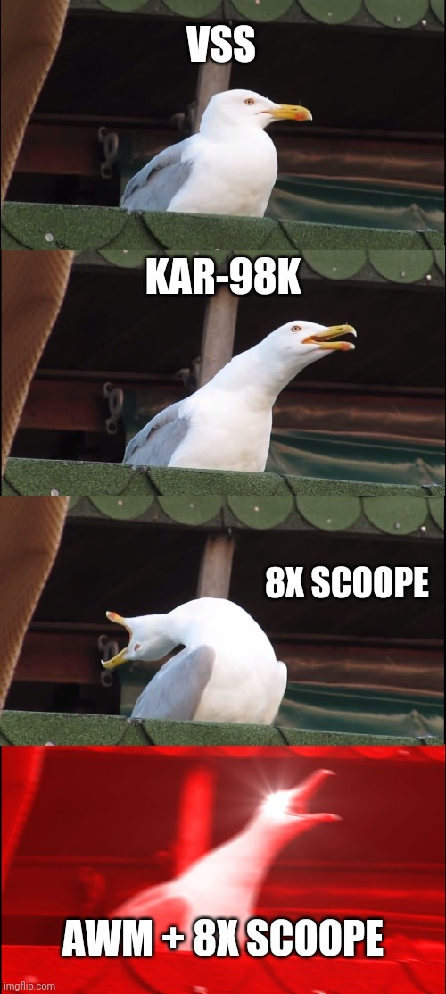Only pubg's players can understand |  VSS; KAR-98K; 8X SCOOPE; AWM + 8X SCOOPE | image tagged in memes,inhaling seagull,pubg | made w/ Imgflip meme maker