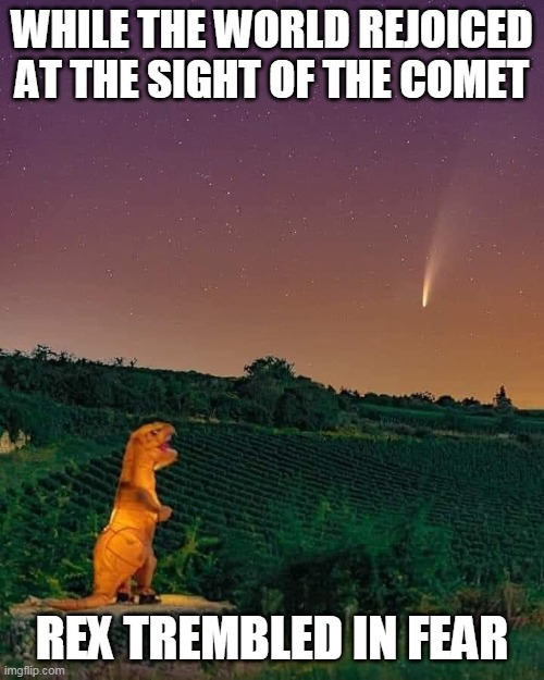 The End Is Nigh! |  WHILE THE WORLD REJOICED AT THE SIGHT OF THE COMET; REX TREMBLED IN FEAR | image tagged in memes,comet,neowise,bad joke trex,trex,dinosaurs | made w/ Imgflip meme maker