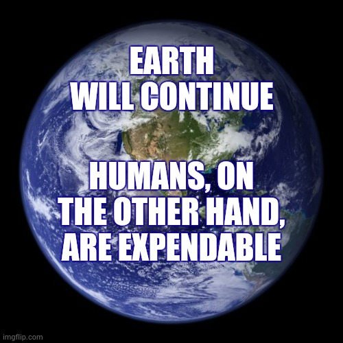 We're Toddlers Tearing Up Our Playroom |  EARTH WILL CONTINUE; HUMANS, ON THE OTHER HAND, ARE EXPENDABLE | image tagged in earth,stupid selfish people,what the hell is wrong with you people,memes,planet earth,humanity | made w/ Imgflip meme maker