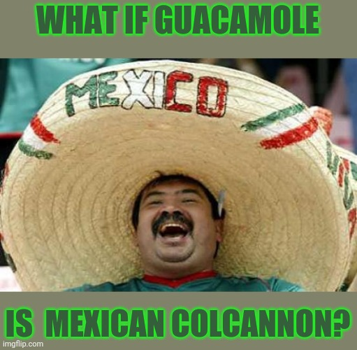Happy Mexican | WHAT IF GUACAMOLE IS  MEXICAN COLCANNON? | image tagged in happy mexican | made w/ Imgflip meme maker
