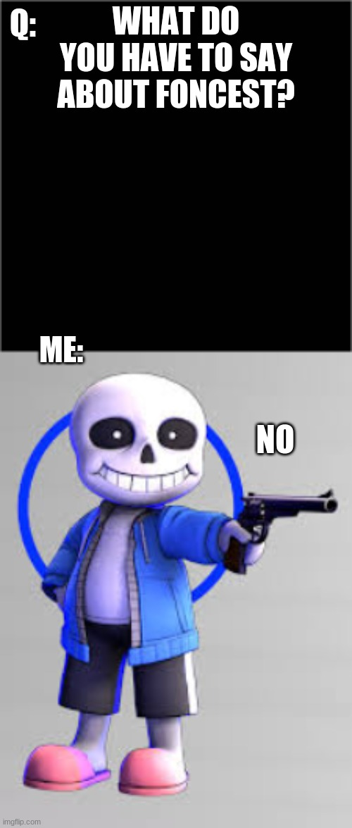 NO |  Q:; WHAT DO YOU HAVE TO SAY ABOUT FONCEST? ME:; NO | image tagged in sans,anti_foncest | made w/ Imgflip meme maker