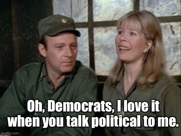 Oh, Democrats, I love it when you talk political to me. | made w/ Imgflip meme maker