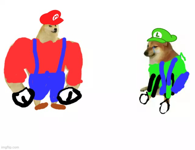 Buff Mario and Poor Luigi | image tagged in buff doge vs cheems,luigi,mario,mario brothers | made w/ Imgflip meme maker