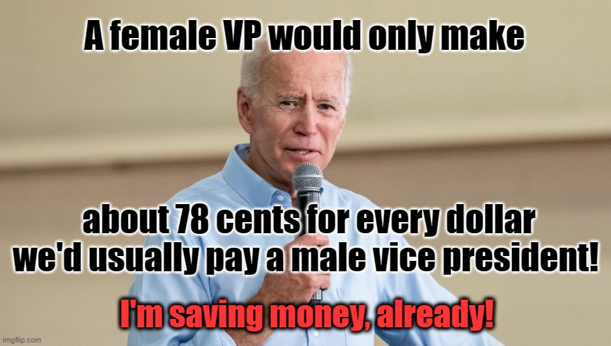Biden Saves Money by Having Female VP |  A female VP would only make; about 78 cents for every dollar we'd usually pay a male vice president! I'm saving money, already! | image tagged in bideb,money,vice president,female politicians,democrats | made w/ Imgflip meme maker