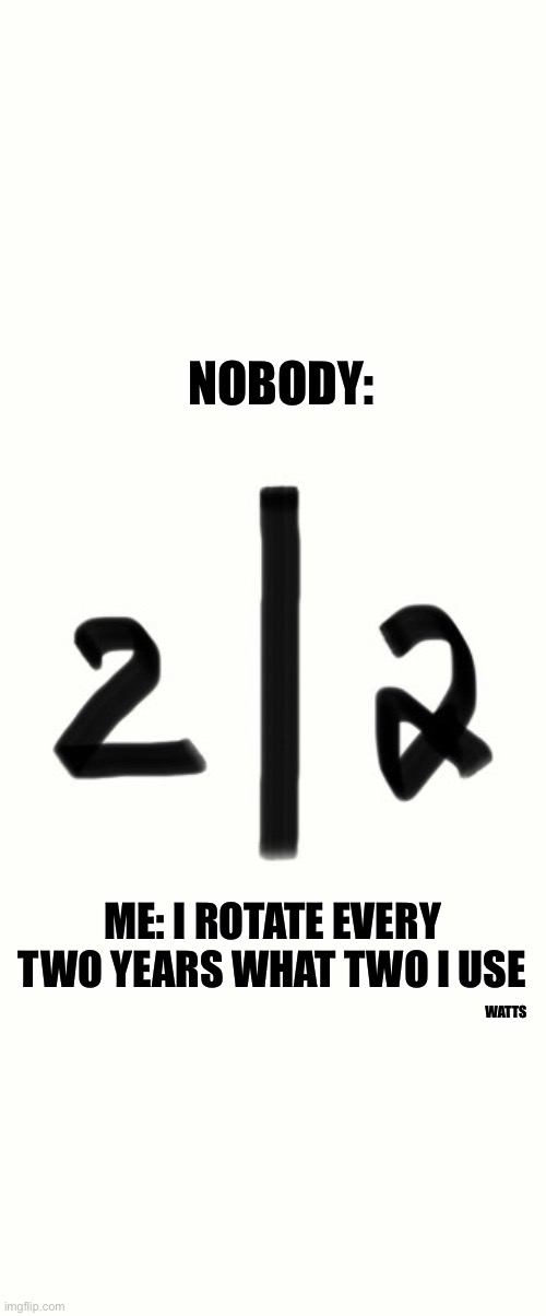 Two |  NOBODY:; ME: I ROTATE EVERY TWO YEARS WHAT TWO I USE; WATTS | image tagged in rotate,new years | made w/ Imgflip meme maker