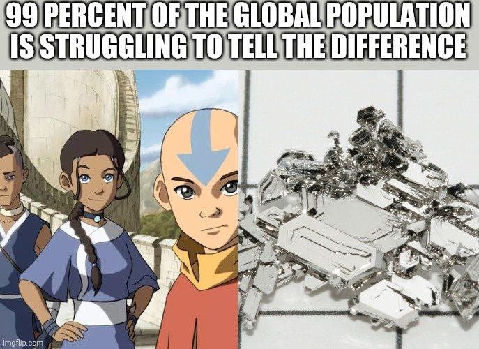 99 PERCENT OF THE GLOBAL POPULATION IS STRUGGLING TO TELL THE DIFFERENCE | image tagged in avatar the last airbender,avatar,platinum,what are memes | made w/ Imgflip meme maker