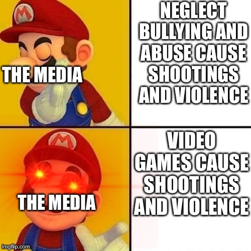 Mario |  NEGLECT BULLYING AND ABUSE CAUSE SHOOTINGS AND VIOLENCE; THE MEDIA; VIDEO GAMES CAUSE SHOOTINGS AND VIOLENCE; THE MEDIA | image tagged in memes,drake hotline bling,funny | made w/ Imgflip meme maker