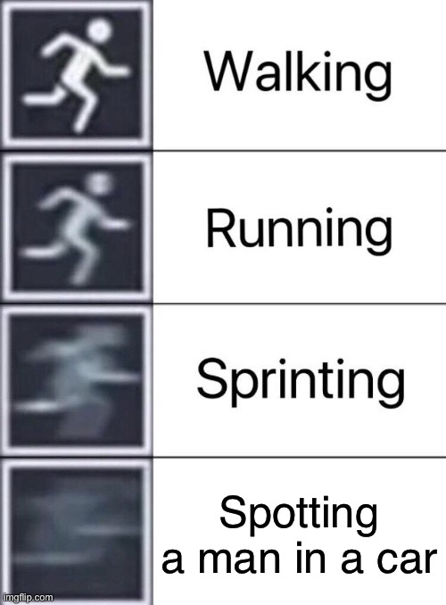 In a car |  Spotting a man in a car | image tagged in walking running sprinting,meme man,original memes,runner,car memes,signs | made w/ Imgflip meme maker