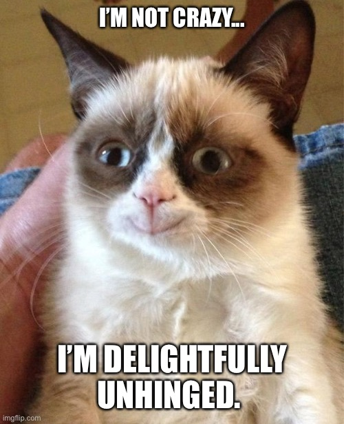 I'm not crazy. I'm delightfully unhinged. |  I'M NOT CRAZY... I'M DELIGHTFULLY UNHINGED. | image tagged in memes,grumpy cat happy,grumpy cat,crazy cat | made w/ Imgflip meme maker