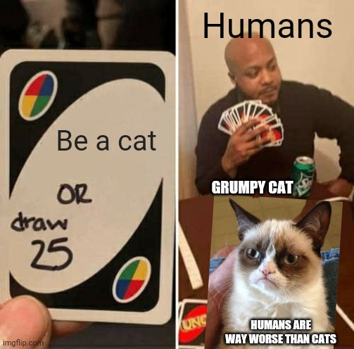 Crossover |  Humans; Be a cat; GRUMPY CAT; HUMANS ARE WAY WORSE THAN CATS | image tagged in memes,uno draw 25 cards,cats,grumpy cat,humans | made w/ Imgflip meme maker