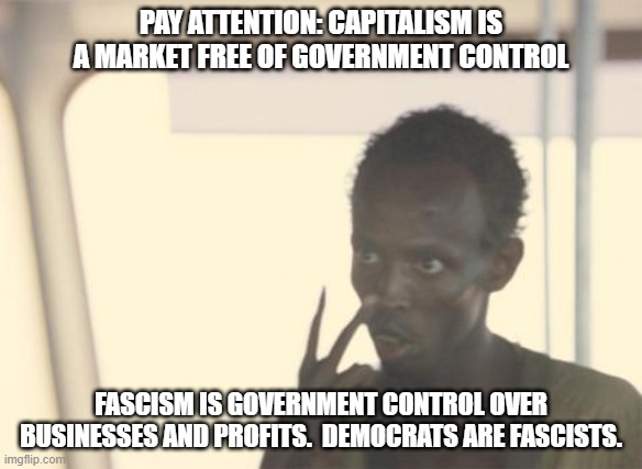 Can't wait to hear the uneducated tell me I'm wrong. |  PAY ATTENTION: CAPITALISM IS A MARKET FREE OF GOVERNMENT CONTROL; FASCISM IS GOVERNMENT CONTROL OVER BUSINESSES AND PROFITS.  DEMOCRATS ARE FASCISTS. | image tagged in memes,i'm the captain now,stupid liberals,make america great again again,uneducated liberals | made w/ Imgflip meme maker