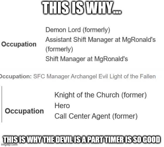 THIS IS WHY... THIS IS WHY THE DEVIL IS A PART TIMER IS SO GOOD | made w/ Imgflip meme maker